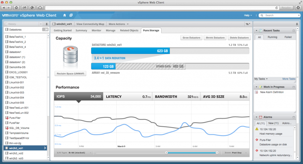 Pure Storage Web Client Plugin