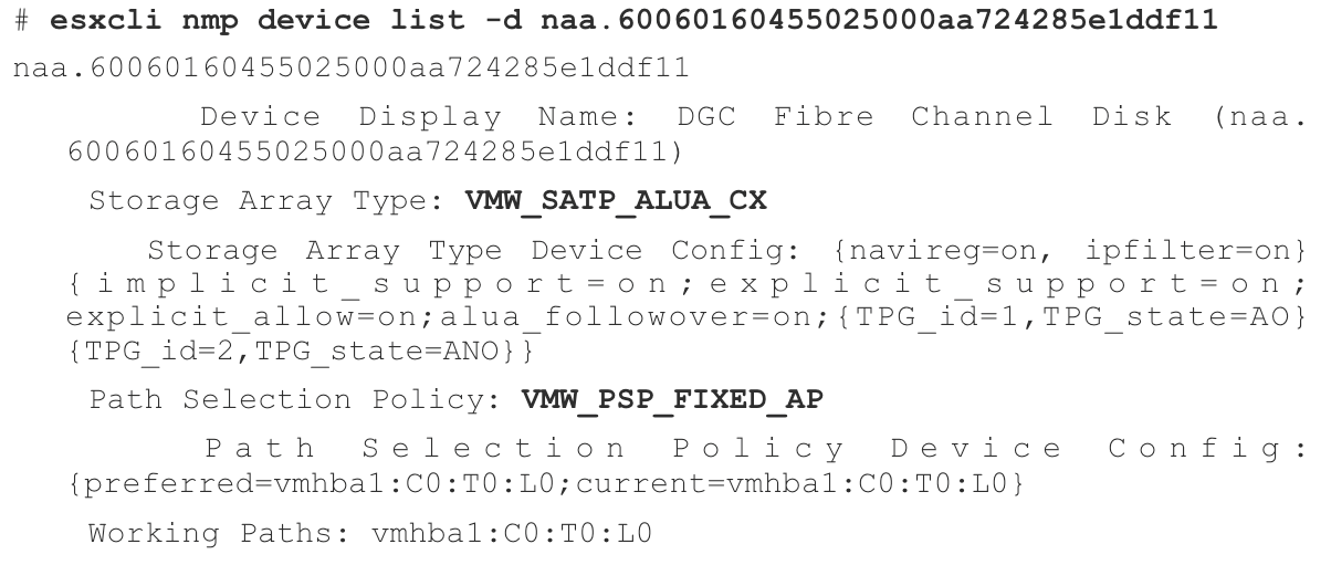 esxcli nmp device list