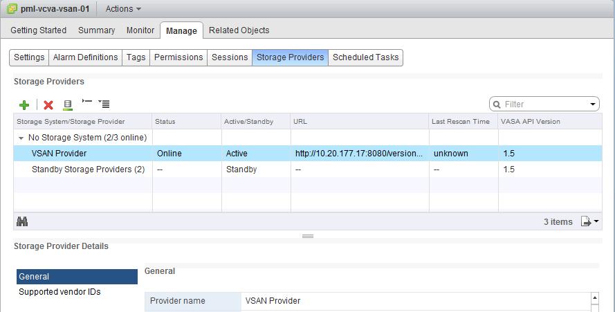 VSAN vendor-providers