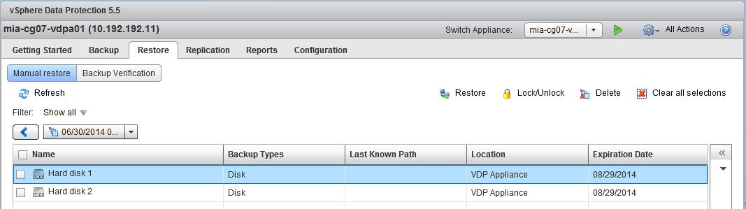 Hard disks per backup instance