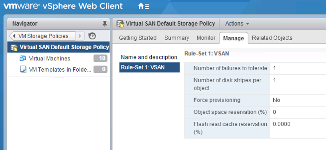 VSAN Default Policy