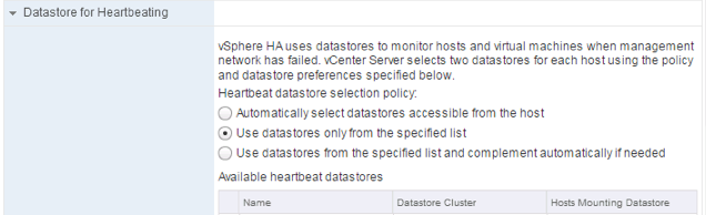 HA Datastore for Heartbeat