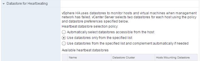 HA Datastore for Heartbeat