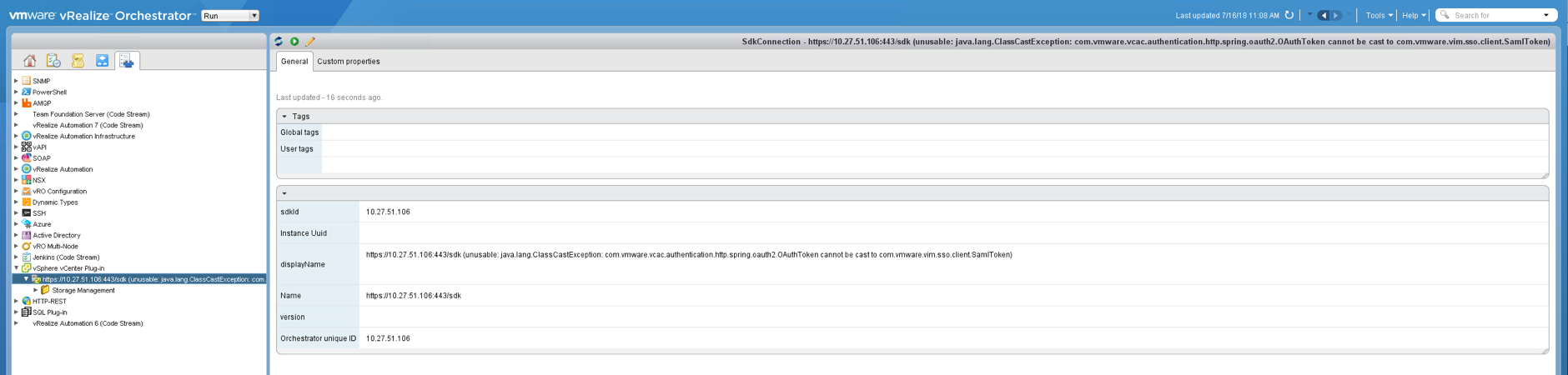 Workflow issues when vCenter instance not correctly added to vRO